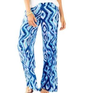 Lilly Pulitzer Blue Lolani 100% Silk Palazzo Pants